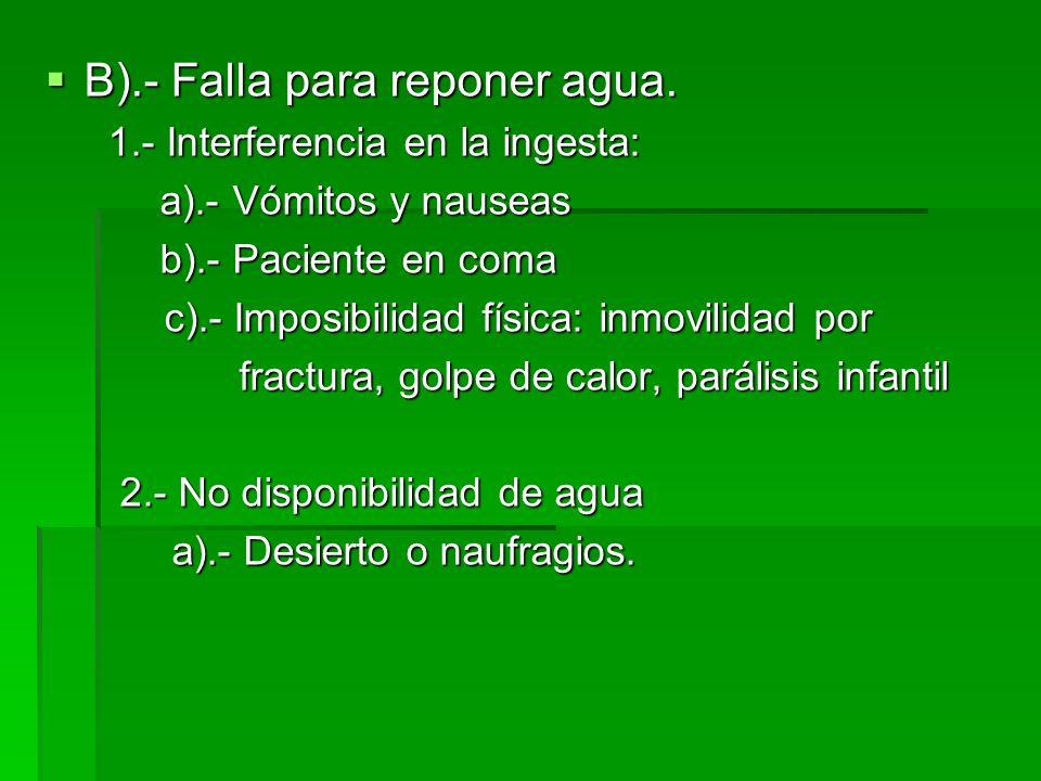 B).- Falla para reponer agua. B).- Falla para reponer agua. 1.- Interferencia en la ingesta: 1.- Interferencia en la ingesta: a).- Vómitos y nauseas a