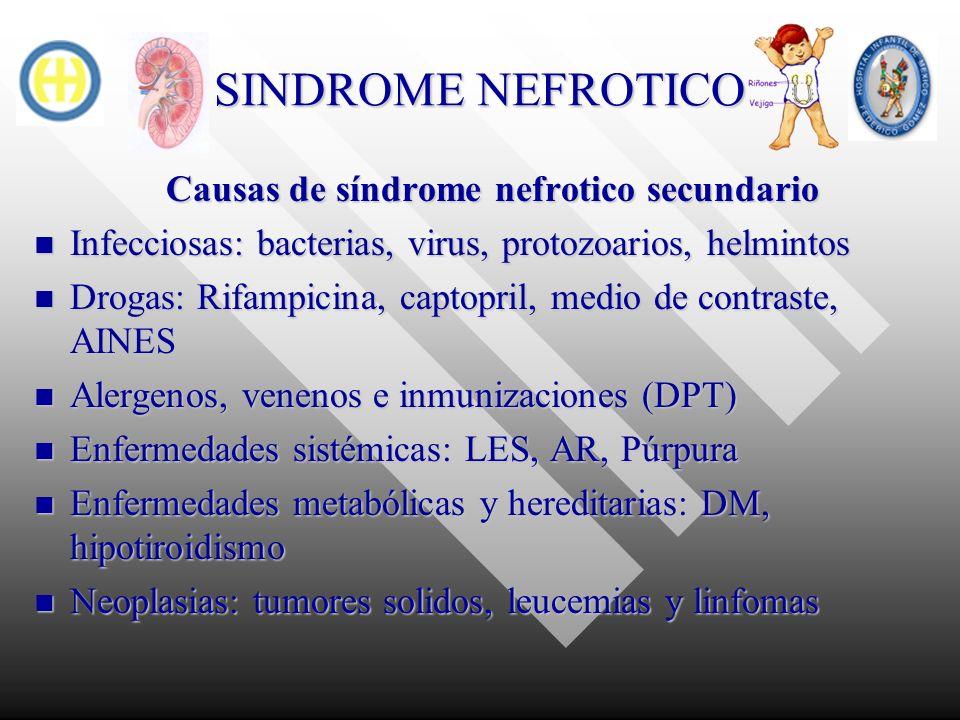 SINDROME NEFROTICO Causas de síndrome nefrotico secundario Infecciosas: bacterias, virus, protozoarios, helmintos Infecciosas: bacterias, virus, proto