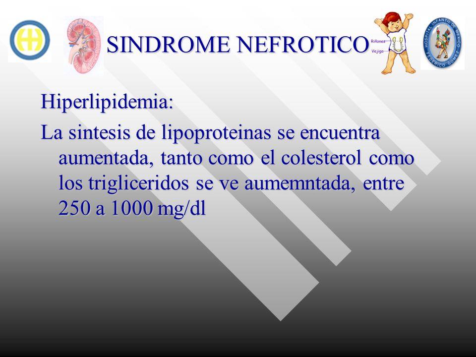 SINDROME NEFROTICO Hiperlipidemia: La sintesis de lipoproteinas se encuentra aumentada, tanto como el colesterol como los trigliceridos se ve aumemnta