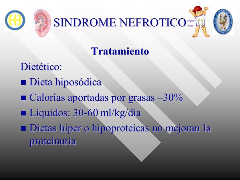 SINDROME NEFROTICO TratamientoDietético: Dieta hiposódica Dieta hiposódica Calorías aportadas por grasas –30% Calorías aportadas por grasas –30% Líqui