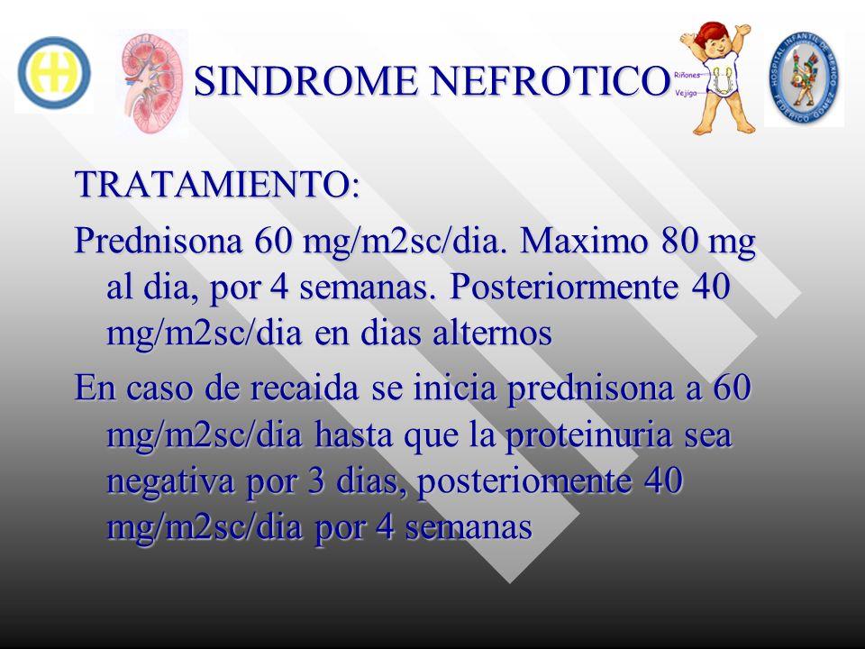 SINDROME NEFROTICO TRATAMIENTO: Prednisona 60 mg/m2sc/dia. Maximo 80 mg al dia, por 4 semanas. Posteriormente 40 mg/m2sc/dia en dias alternos En caso