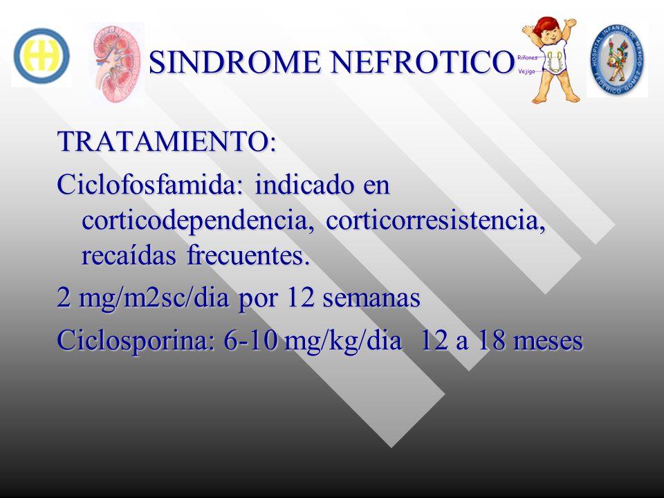 SINDROME NEFROTICO TRATAMIENTO: Ciclofosfamida: indicado en corticodependencia, corticorresistencia, recaídas frecuentes. 2 mg/m2sc/dia por 12 semanas