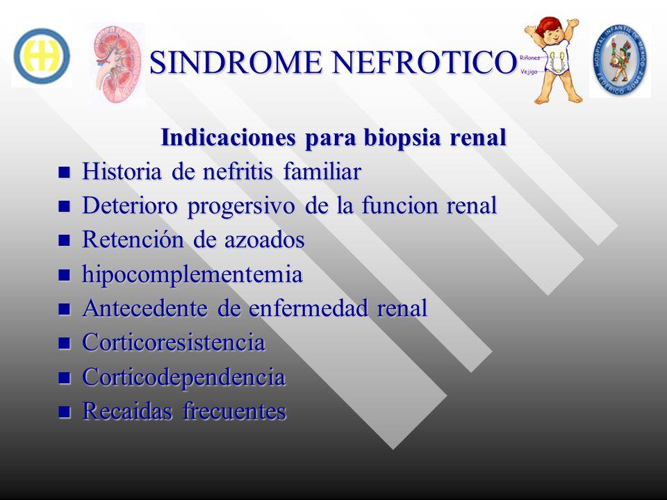 SINDROME NEFROTICO Indicaciones para biopsia renal Historia de nefritis familiar Historia de nefritis familiar Deterioro progersivo de la funcion rena