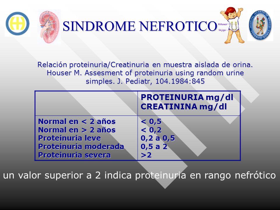 SINDROME NEFROTICO Relación proteinuria/Creatinuria en muestra aislada de orina. Houser M. Assesment of proteinuria using random urine simples. J. Ped