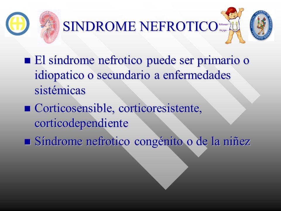 SINDROME NEFROTICO El síndrome nefrotico puede ser primario o idiopatico o secundario a enfermedades sistémicas El síndrome nefrotico puede ser primar