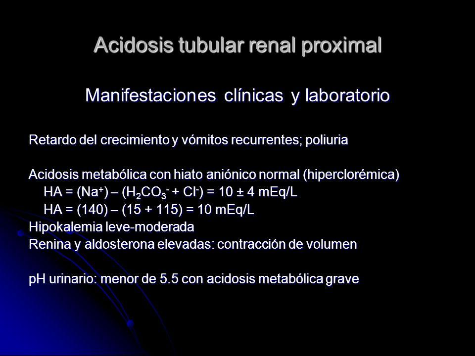 Acidosis tubular renal proximal Manifestaciones clínicas y laboratorio Retardo del crecimiento y vómitos recurrentes; poliuria Acidosis metabólica con hiato aniónico normal (hiperclorémica) HA = (Na + ) – (H 2 CO 3 - + Cl - ) = 10 ± 4 mEq/L HA = (Na + ) – (H 2 CO 3 - + Cl - ) = 10 ± 4 mEq/L HA = (140) – (15 + 115) = 10 mEq/L HA = (140) – (15 + 115) = 10 mEq/L Hipokalemia leve-moderada Renina y aldosterona elevadas: contracción de volumen pH urinario: menor de 5.5 con acidosis metabólica grave