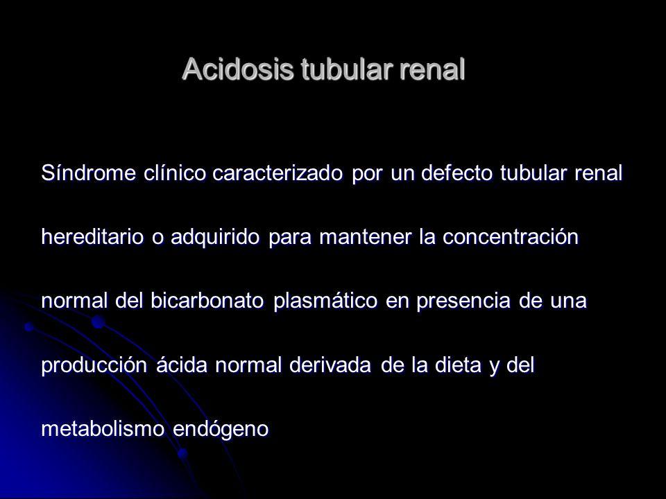 Acidosis tubular renal Clasificación Acidosis tubular renal distal o tipo 1 Acidosis tubular renal proximal o tipo 2 Acidosis tubular renal distal hiperkalémica o tipo 4