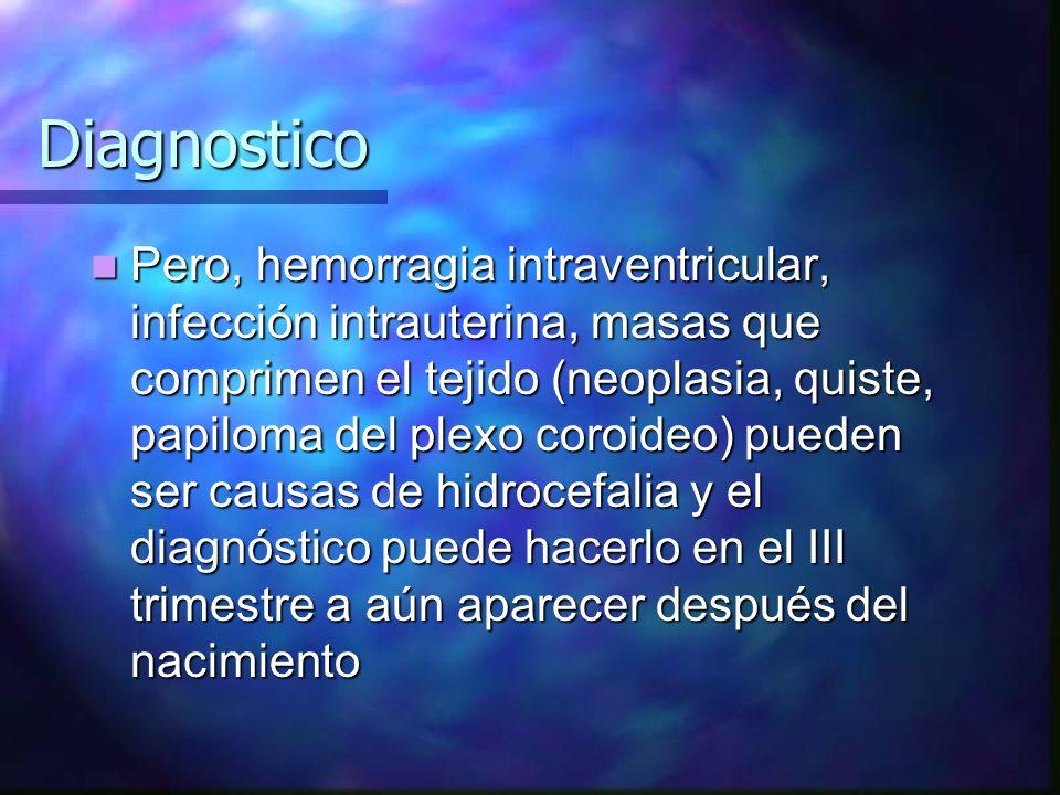 Diagnostico Pero, hemorragia intraventricular, infección intrauterina, masas que comprimen el tejido (neoplasia, quiste, papiloma del plexo coroideo)