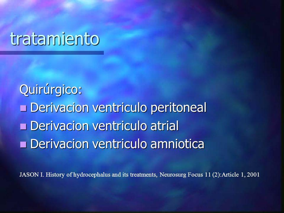 tratamiento Quirúrgico: Derivacion ventriculo peritoneal Derivacion ventriculo peritoneal Derivacion ventriculo atrial Derivacion ventriculo atrial De