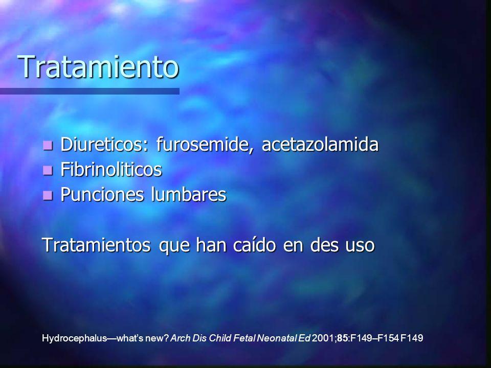 Tratamiento Diureticos: furosemide, acetazolamida Diureticos: furosemide, acetazolamida Fibrinoliticos Fibrinoliticos Punciones lumbares Punciones lum