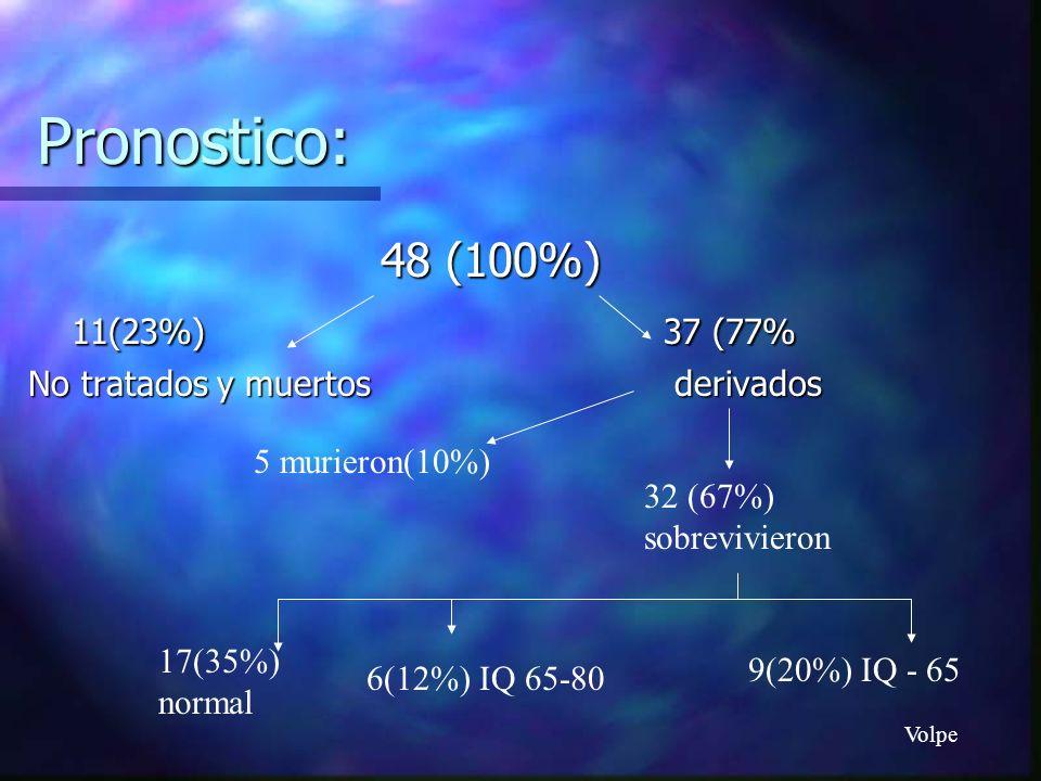 Pronostico: 48 (100%) 11(23%) 37 (77% 11(23%) 37 (77% No tratados y muertos derivados 5 murieron(10%) 32 (67%) sobrevivieron 17(35%) normal 6(12%) IQ