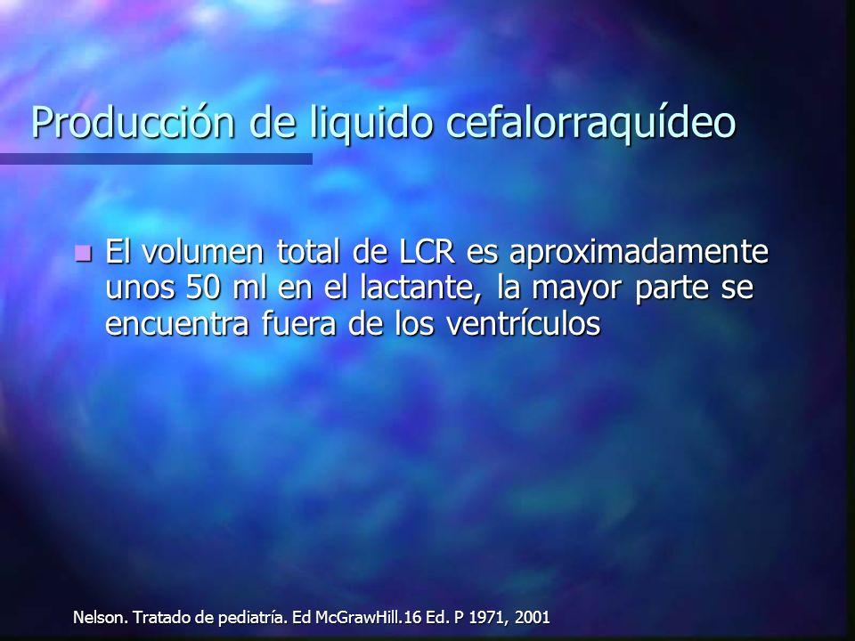 Producción de liquido cefalorraquídeo El volumen total de LCR es aproximadamente unos 50 ml en el lactante, la mayor parte se encuentra fuera de los v