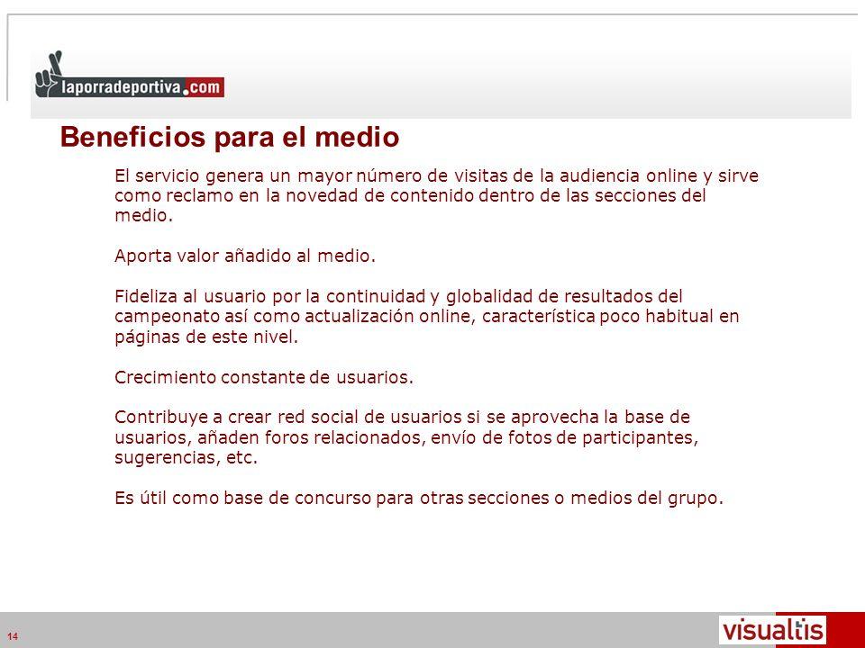 Telecom Media Networks v4.2 14 Beneficios para el medio Posicionamiento en medio online.