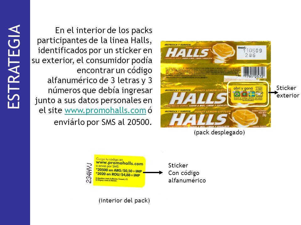 En el interior de los packs participantes de la linea Halls, identificados por un sticker en su exterior, el consumidor podía encontrar un código alfa