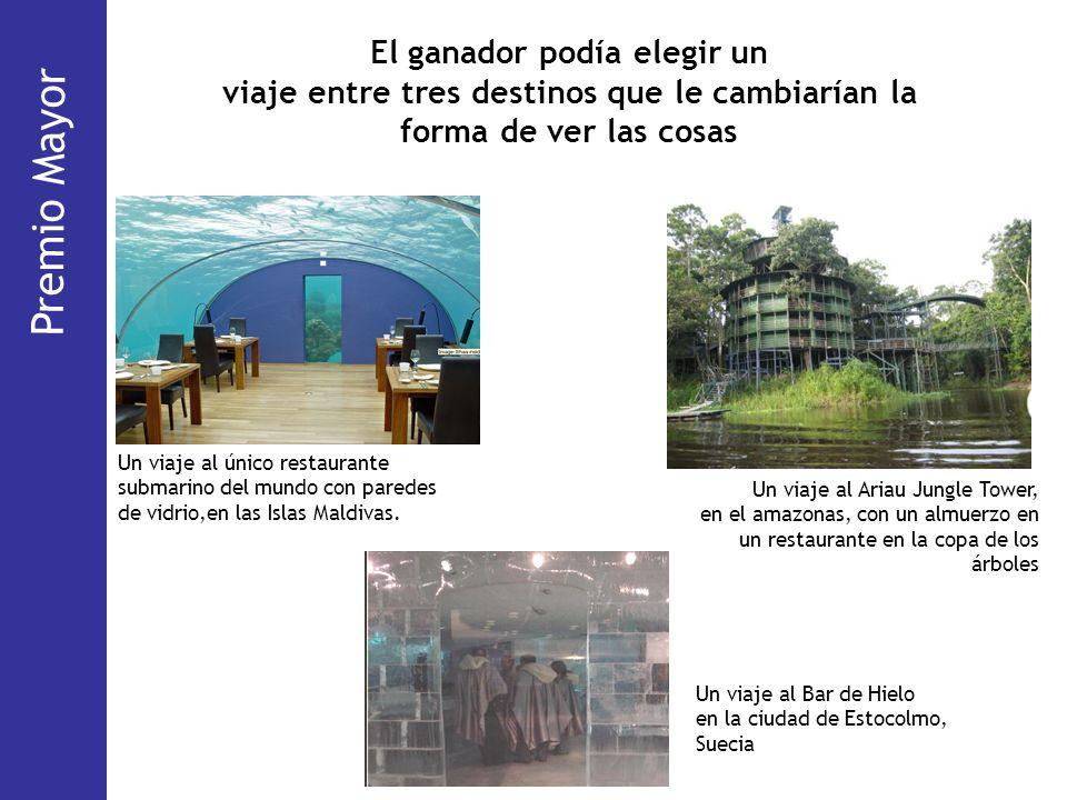 El ganador podía elegir un viaje entre tres destinos que le cambiarían la forma de ver las cosas Un viaje al único restaurante submarino del mundo con