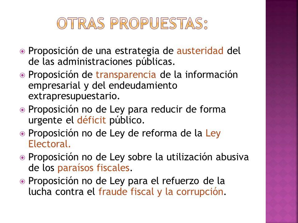 Proposición de una estrategia de austeridad del de las administraciones públicas. Proposición de transparencia de la información empresarial y del end