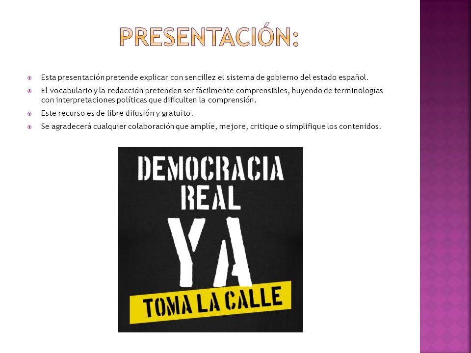Esta presentación pretende explicar con sencillez el sistema de gobierno del estado español. El vocabulario y la redacción pretenden ser fácilmente co
