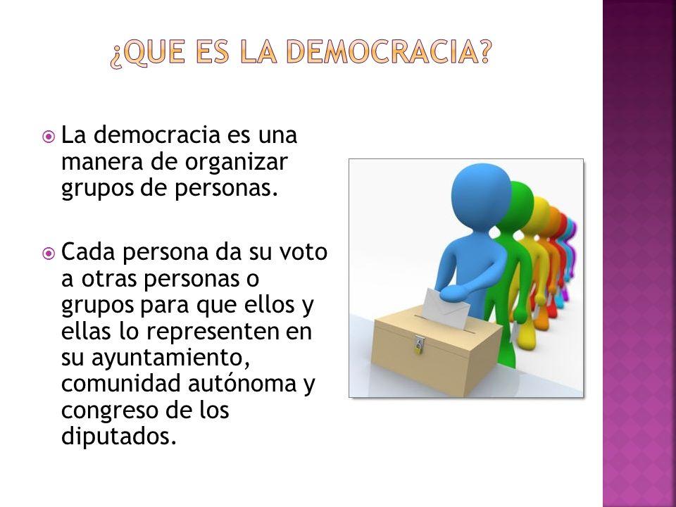 La democracia es una manera de organizar grupos de personas. Cada persona da su voto a otras personas o grupos para que ellos y ellas lo representen e