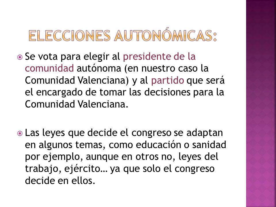 Se vota para elegir al presidente de la comunidad autónoma (en nuestro caso la Comunidad Valenciana) y al partido que será el encargado de tomar las d