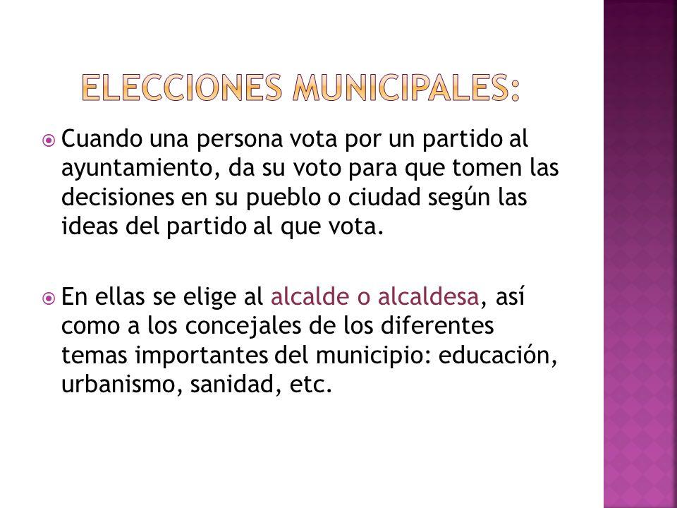 Cuando una persona vota por un partido al ayuntamiento, da su voto para que tomen las decisiones en su pueblo o ciudad según las ideas del partido al
