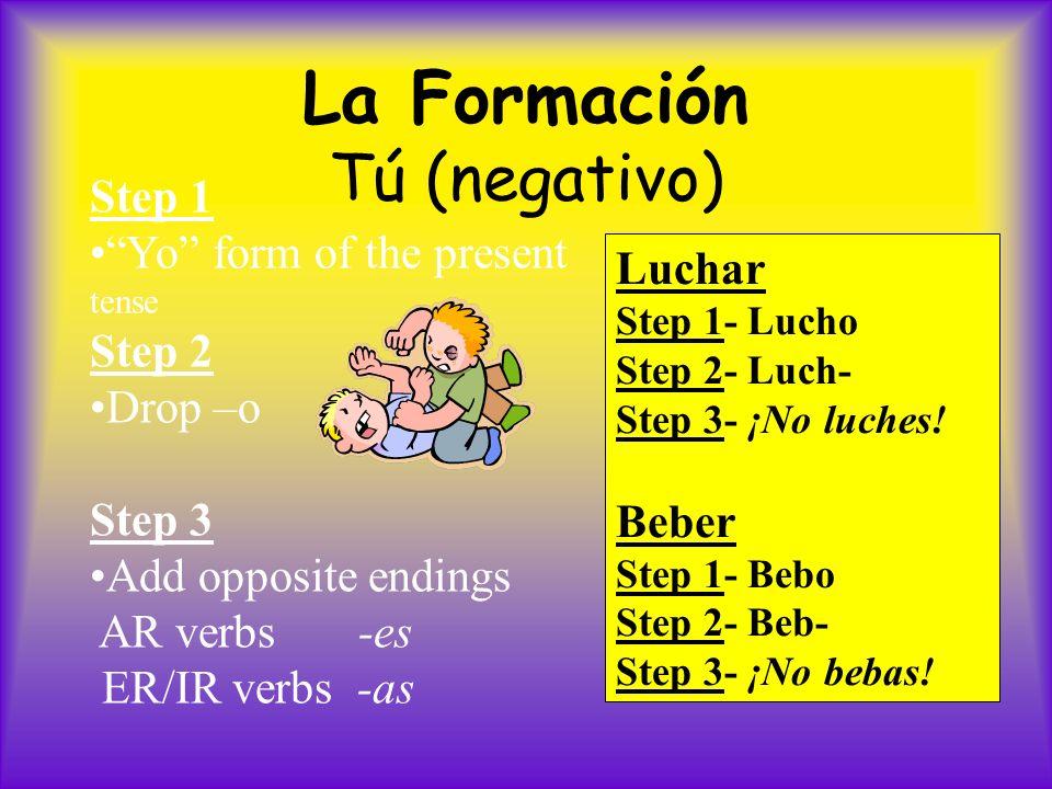 Mandatos negativos informales - casos especiales: 1.The same rule applies for the verbs whose present YO form ends in: go, zco, yo, and jo –Salir ¡No salgas.