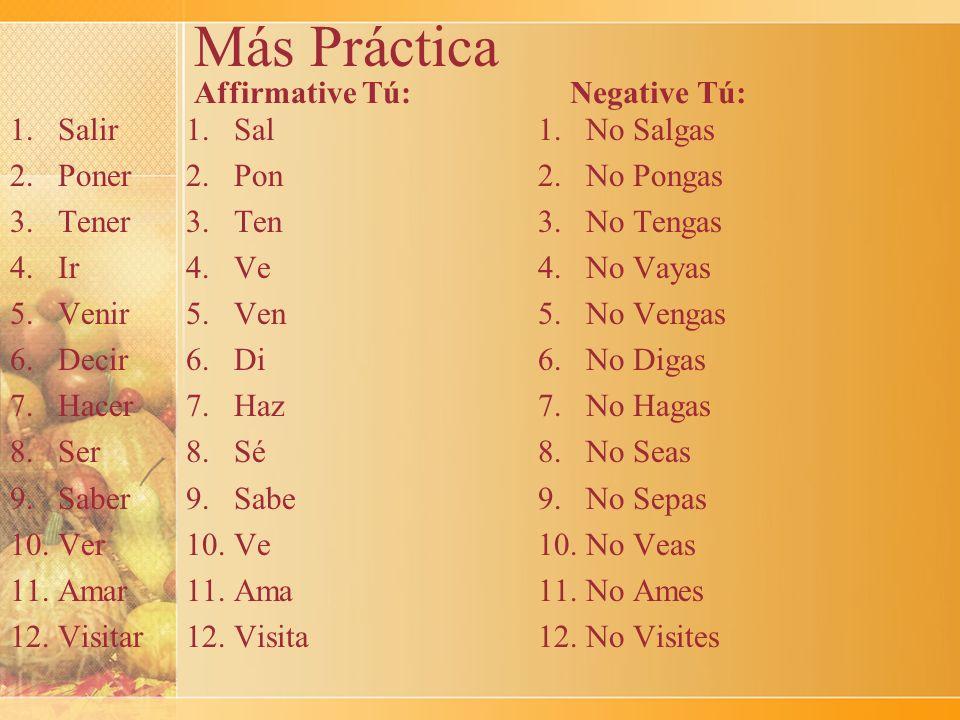 Más Práctica Affirmative Tú: 1. Sal 2. Pon 3. Ten 4. Ve 5. Ven 6. Di 7. Haz 8. Sé 9. Sabe 10. Ve 11. Ama 12. Visita Negative Tú: 1.Salir 2.Poner 3.Ten
