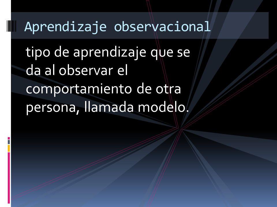 tipo de aprendizaje que se da al observar el comportamiento de otra persona, llamada modelo. Aprendizaje observacional