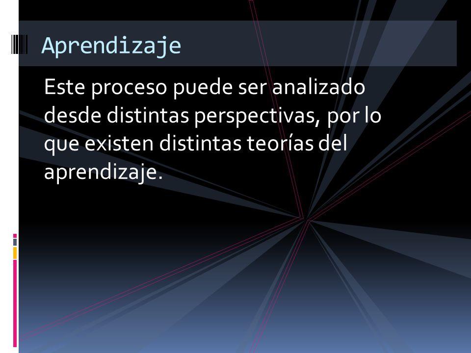 Este proceso puede ser analizado desde distintas perspectivas, por lo que existen distintas teorías del aprendizaje. Aprendizaje