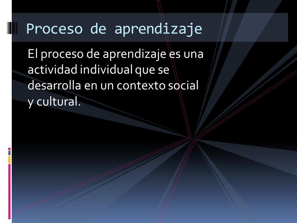 El proceso de aprendizaje es una actividad individual que se desarrolla en un contexto social y cultural. Proceso de aprendizaje