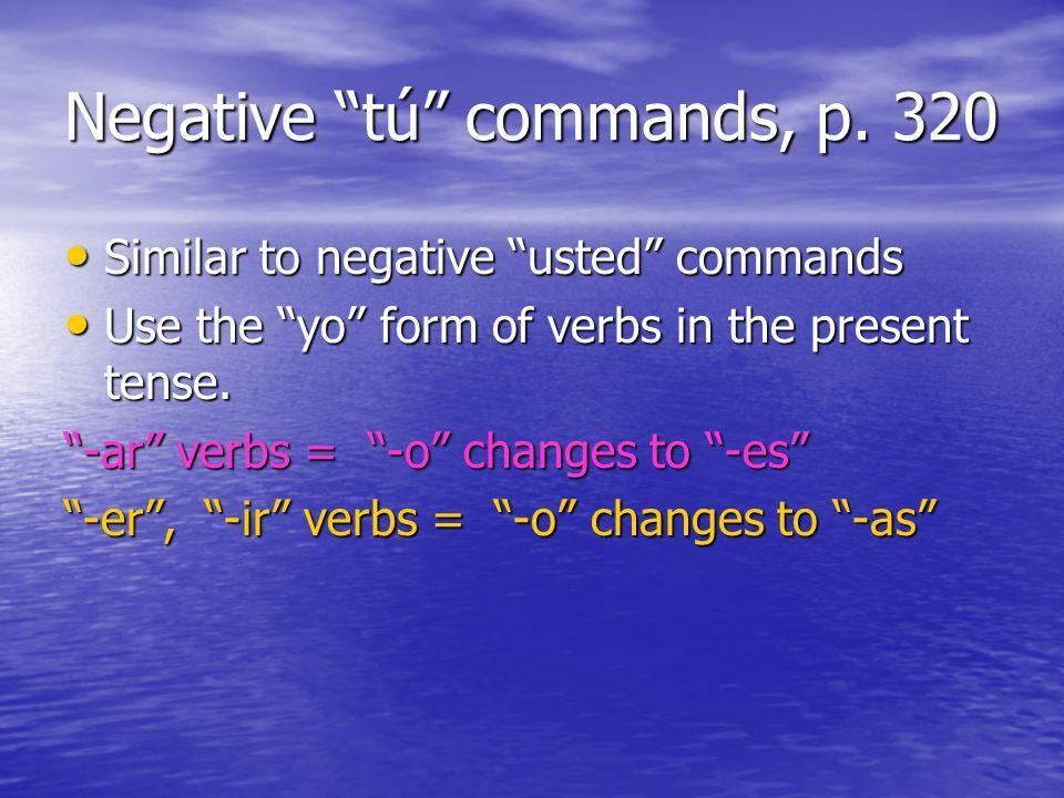 Regular negative tú commands, p.