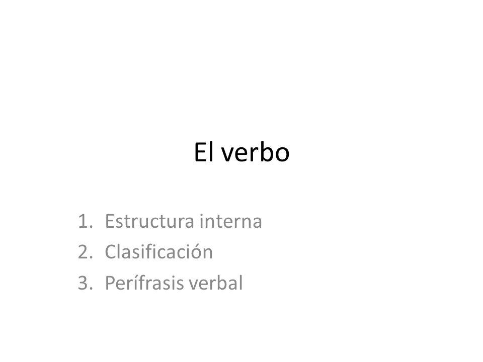 1.Estructura interna Lexema, vocal temática (a 1º conjugación; e segunda; e i tercera) y morfemas flexivos o desinencias (modo, tiempo, aspecto, número y persona