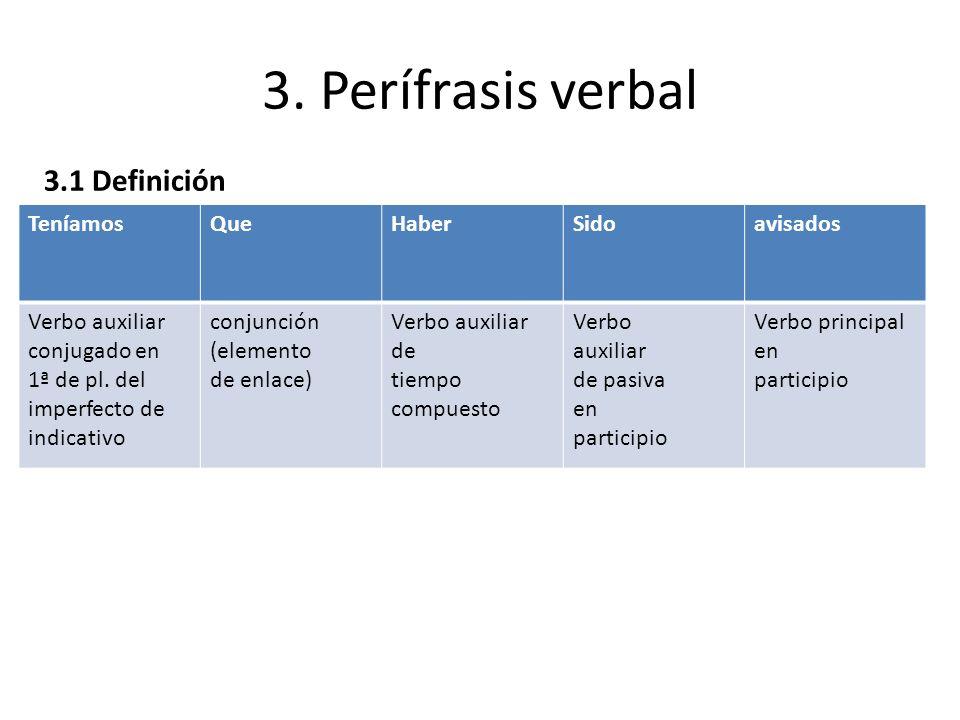 3. Perífrasis verbal 3.1 Definición TeníamosQueHaberSidoavisados Verbo auxiliar conjugado en 1ª de pl. del imperfecto de indicativo conjunción (elemen