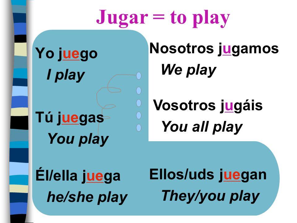 Yo juego I play Tú juegas You play Él/ella juega he/she play Nosotros jugamos We play Vosotros jugáis You all play Ellos/uds juegan They/you play Juga