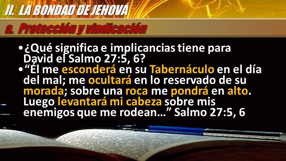 ¿Qué significa e implicancias tiene para David el Salmo 27:5, 6? Él me esconderá en su Tabernáculo en el día del mal; me ocultará en lo reservado de s