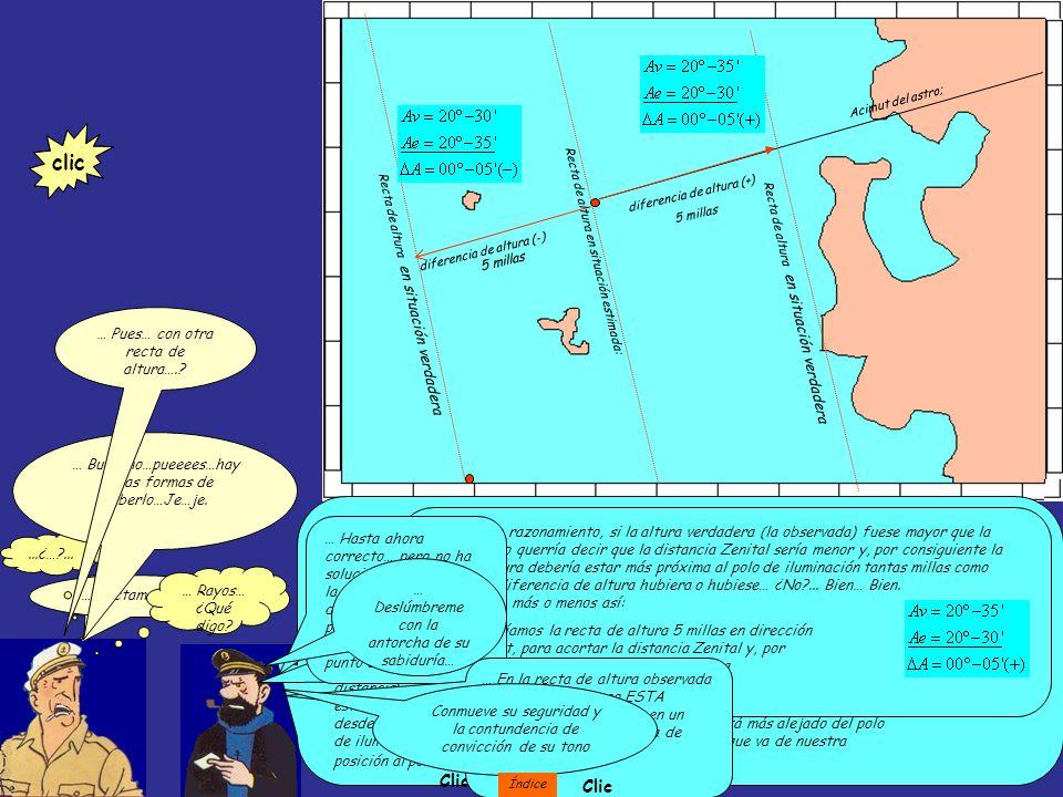 Recta de altura en situación verdadera Acimut del astro; diferencia de altura (-) Recta de altura en situación estimada: Resumiendo: estás en una situación de estima, con una longitud y latitud que quieres corregir.
