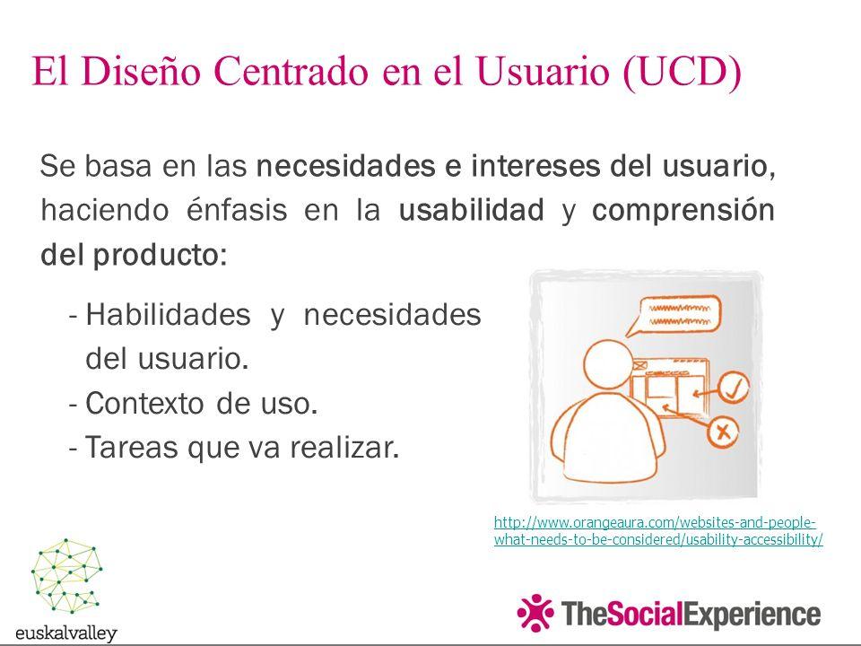 Se basa en las necesidades e intereses del usuario, haciendo énfasis en la usabilidad y comprensión del producto: El Diseño Centrado en el Usuario (UCD) http://www.orangeaura.com/websites-and-people- what-needs-to-be-considered/usability-accessibility/ -Habilidades y necesidades del usuario.