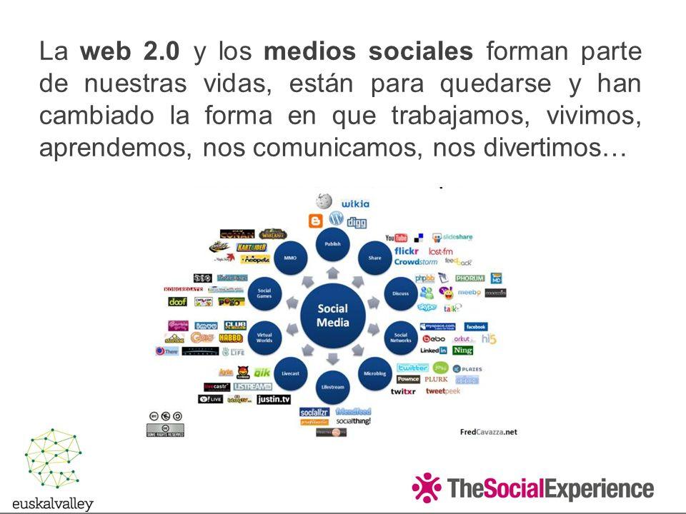 La web 2.0 y los medios sociales forman parte de nuestras vidas, están para quedarse y han cambiado la forma en que trabajamos, vivimos, aprendemos, nos comunicamos, nos divertimos…