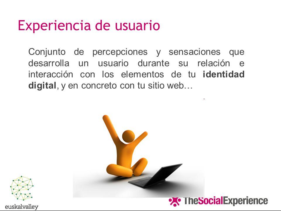 Conjunto de percepciones y sensaciones que desarrolla un usuario durante su relación e interacción con los elementos de tu identidad digital, y en concreto con tu sitio web… Experiencia de usuario