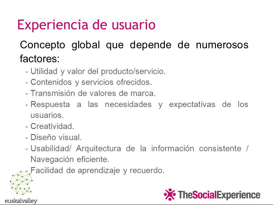 Concepto global que depende de numerosos factores: -Utilidad y valor del producto/servicio.