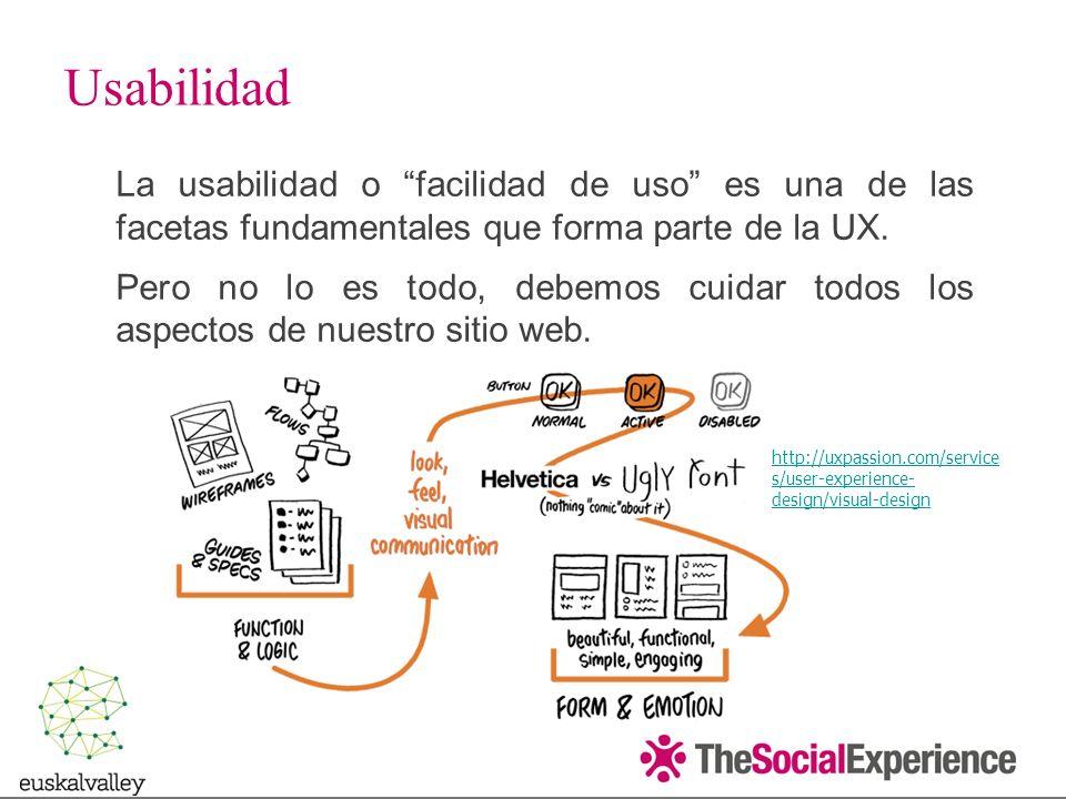 La usabilidad o facilidad de uso es una de las facetas fundamentales que forma parte de la UX.
