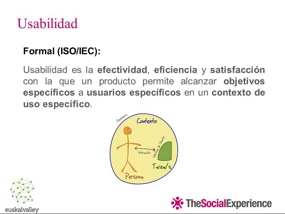 Formal (ISO/IEC): Usabilidad es la efectividad, eficiencia y satisfacción con la que un producto permite alcanzar objetivos específicos a usuarios específicos en un contexto de uso específico.