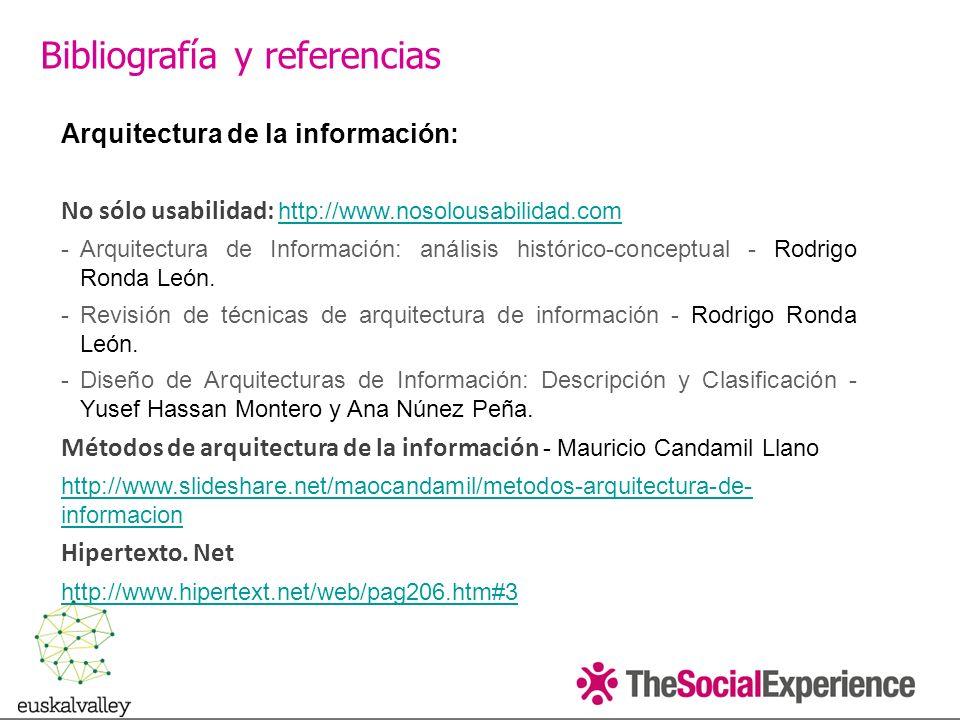 Arquitectura de la información: No sólo usabilidad: http://www.nosolousabilidad.com http://www.nosolousabilidad.com -Arquitectura de Información: análisis histórico-conceptual - Rodrigo Ronda León.