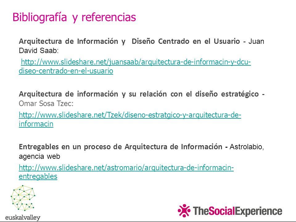 Arquitectura de Información y Diseño Centrado en el Usuario - Juan David Saab: http://www.slideshare.net/juansaab/arquitectura-de-informacin-y-dcu- diseo-centrado-en-el-usuario http://www.slideshare.net/juansaab/arquitectura-de-informacin-y-dcu- diseo-centrado-en-el-usuario Arquitectura de información y su relación con el diseño estratégico - Omar Sosa Tzec: http://www.slideshare.net/Tzek/diseno-estratgico-y-arquitectura-de- informacin Entregables en un proceso de Arquitectura de Información - Astrolabio, agencia web http://www.slideshare.net/astromario/arquitectura-de-informacin- entregables Bibliografía y referencias