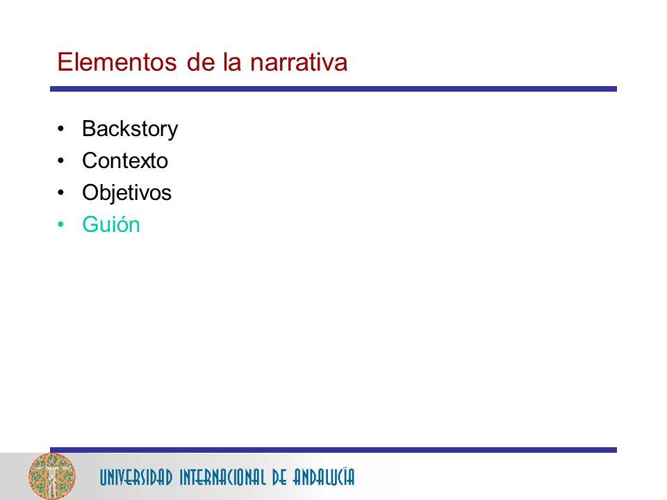 Elementos de la narrativa Backstory Contexto Objetivos Guión