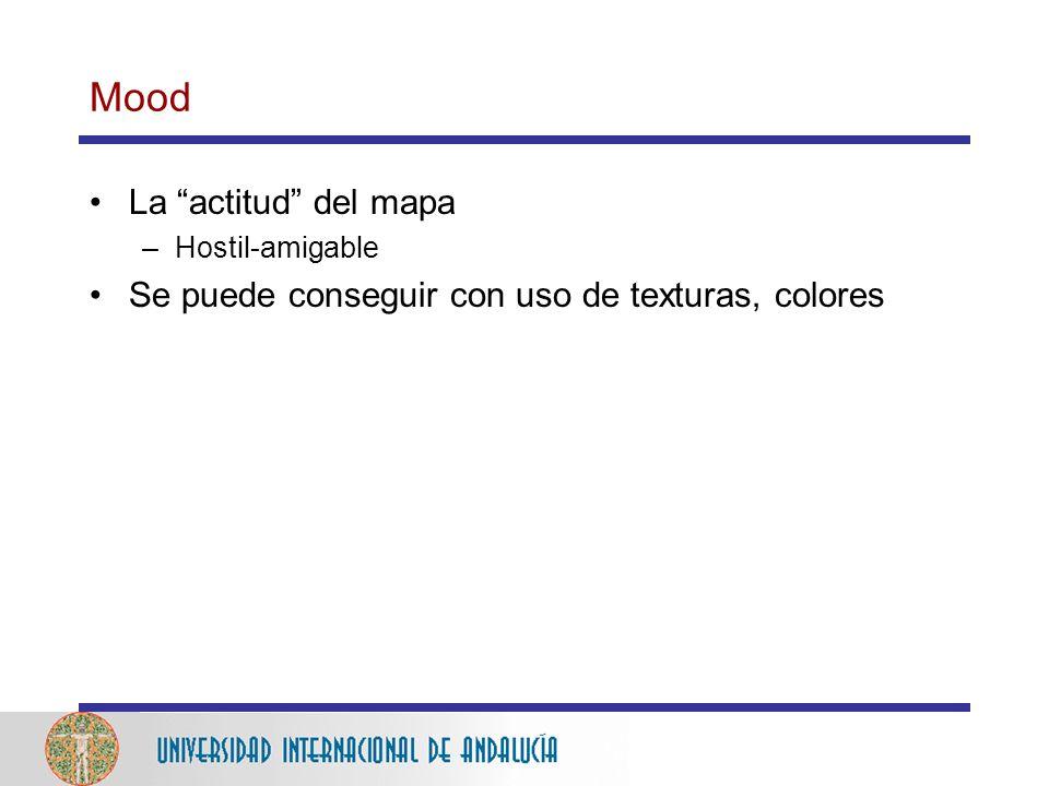 Mood La actitud del mapa –Hostil-amigable Se puede conseguir con uso de texturas, colores