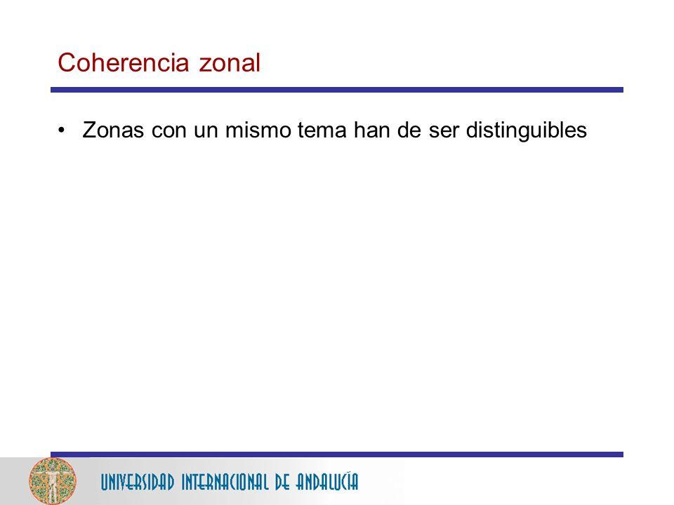 Coherencia zonal Zonas con un mismo tema han de ser distinguibles