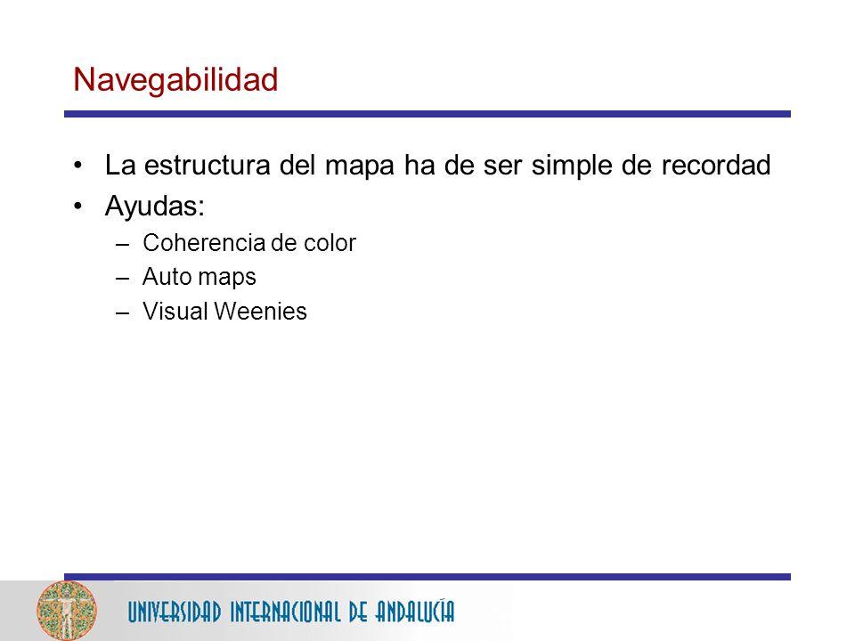 Navegabilidad La estructura del mapa ha de ser simple de recordad Ayudas: –Coherencia de color –Auto maps –Visual Weenies