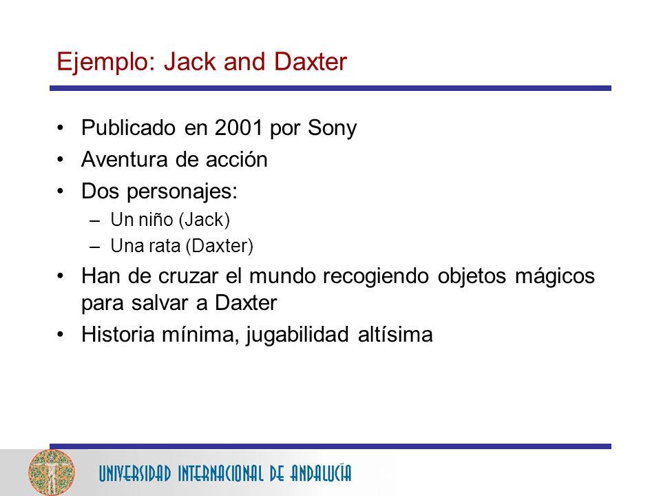 Ejemplo: Jack and Daxter Publicado en 2001 por Sony Aventura de acción Dos personajes: –Un niño (Jack) –Una rata (Daxter) Han de cruzar el mundo recogiendo objetos mágicos para salvar a Daxter Historia mínima, jugabilidad altísima