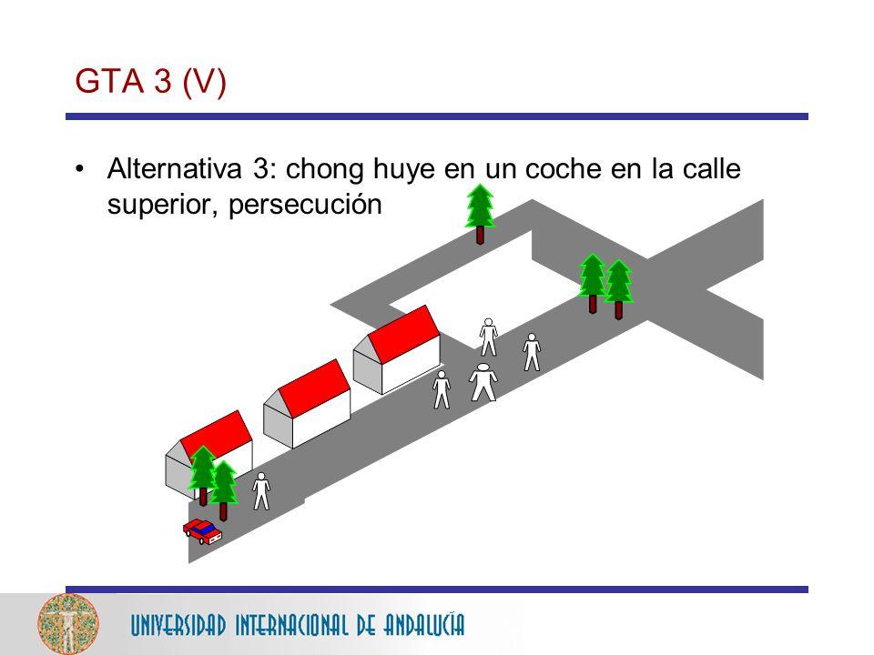GTA 3 (V) Alternativa 3: chong huye en un coche en la calle superior, persecución