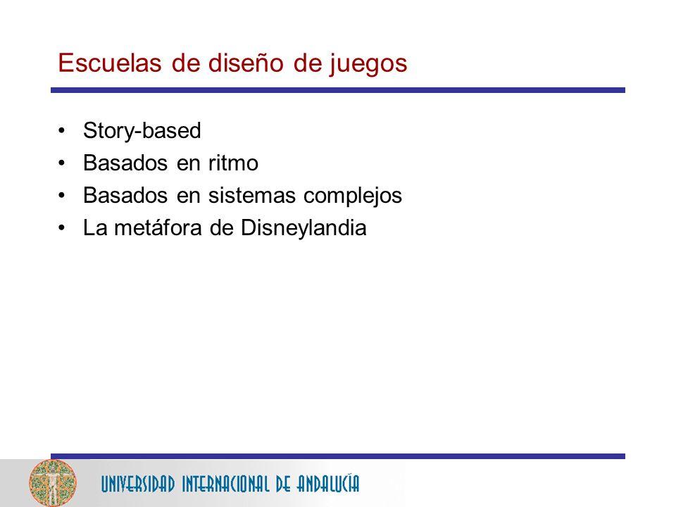 Escuelas de diseño de juegos Story-based Basados en ritmo Basados en sistemas complejos La metáfora de Disneylandia
